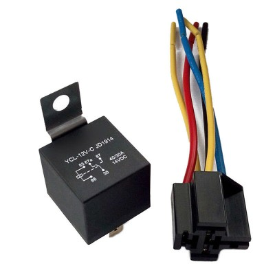 12V 40 AMP SPDT Automotive Relay with Wires & Harness Socket
