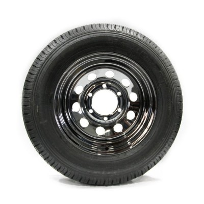 TIRE 225/75D15 8 PLY 2540 LBS AND CHROME RIM 6 HOLES 2540 LBS VAIL SPORT