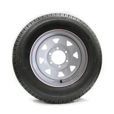 TIRE 225/75D15 8 PLY 2540 LBS AND RALLY RIM 6 HOLES VAIL SPORT