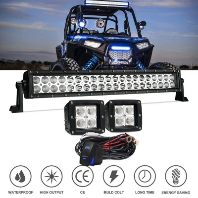 20-22In straight light Bar Offroad With 2PCS Led Fog Pod Lights For ATV/UTV