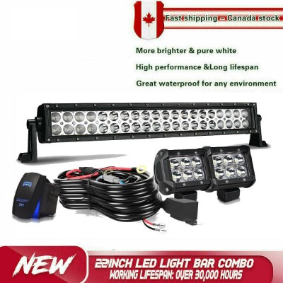 "22inch LED Light Bar Spot Flood + 4"" Pods Offroad SUV Truck ATV utv 4WD"