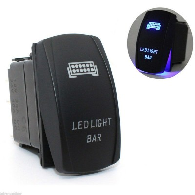 12V 20A Car/Truck/Atv/Utv Led Bar Push Rocker Toggle Switch Blue LED Light Waterproof
