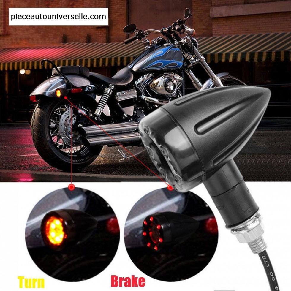 4x Universal Motorcycle LED Amber Lamp Rear Turn Signal Brake light Indicator ON